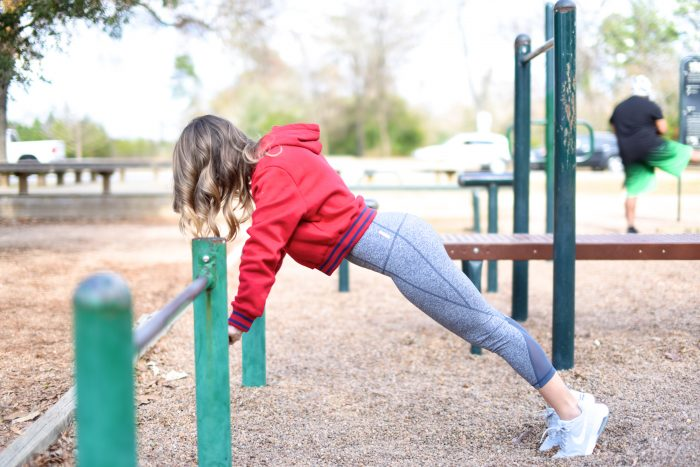 Zella workout crop leggings with red FILA sweatshirt.3