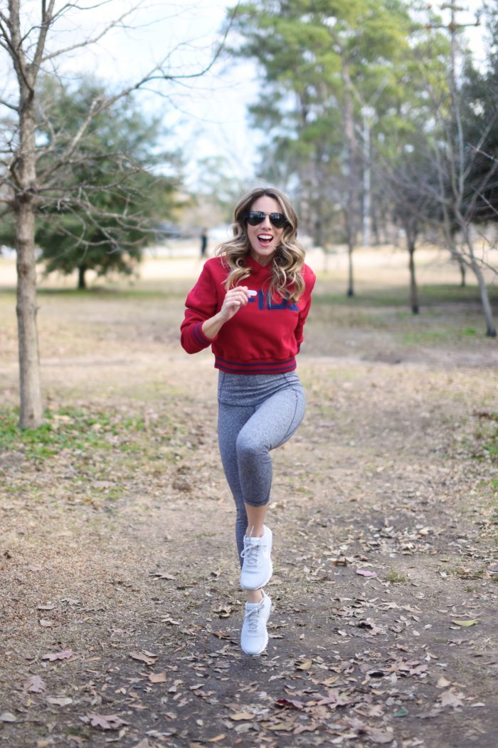 Zella workout crop leggings with red FILA sweatshirt.4