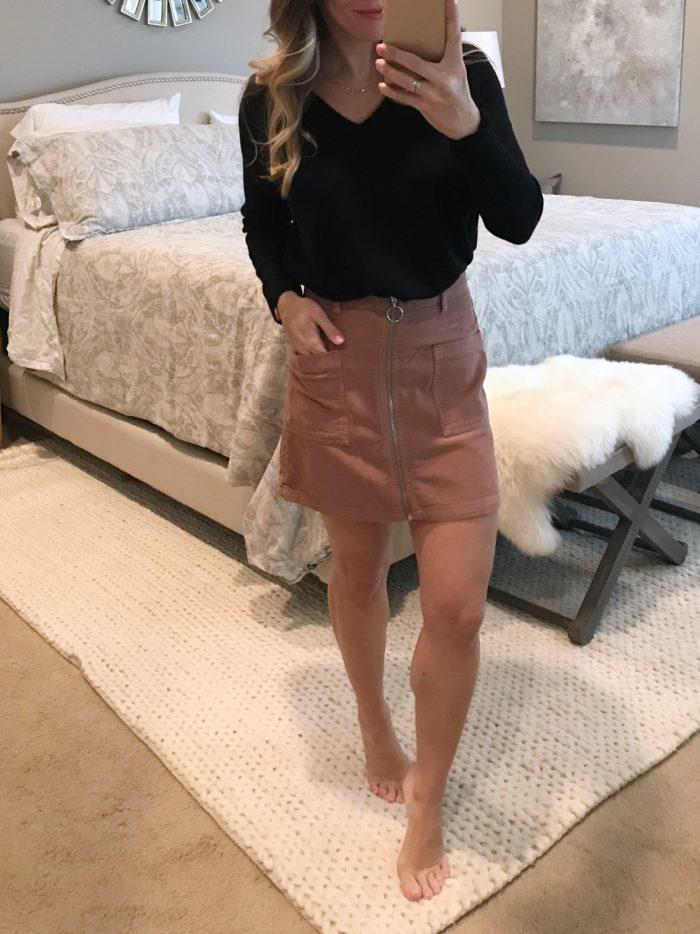 corduroy skirt and black tunic top