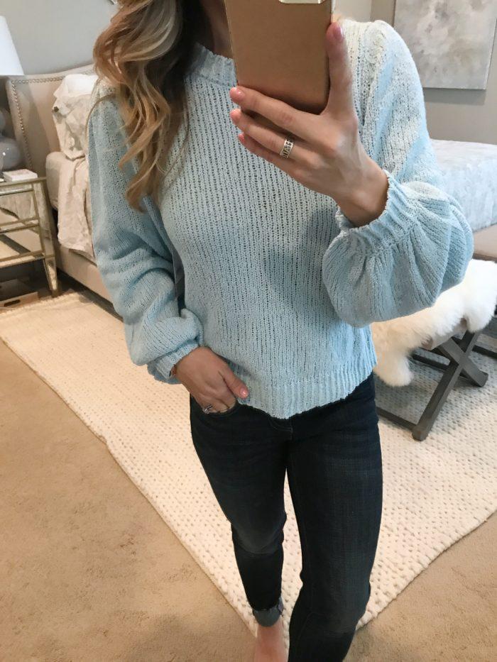 ice blue mock neck sweater