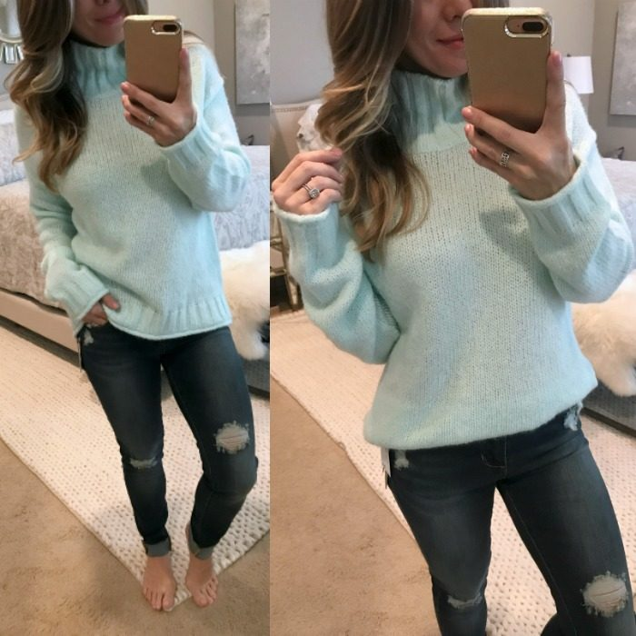 mint sweater and ripped skinny jeans