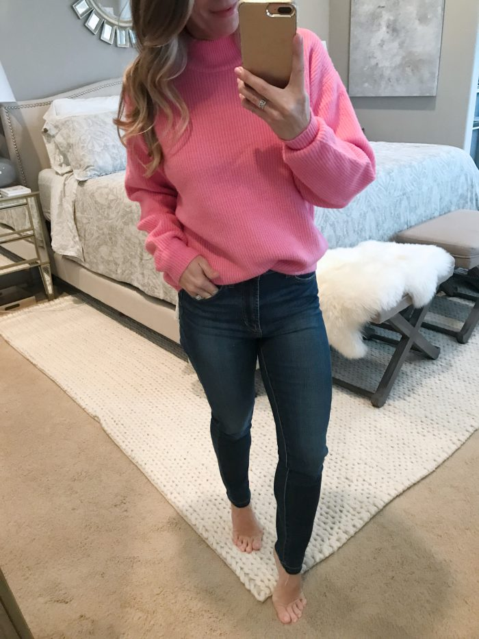 pink sweater high waist skinny jeans