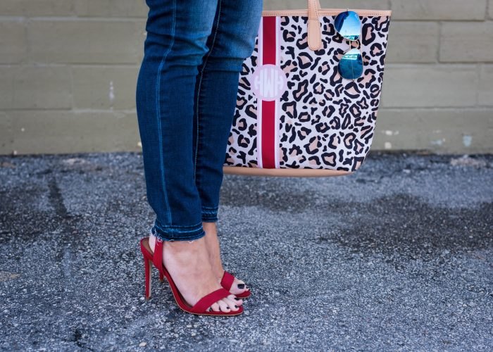 Leopard bag and red heels