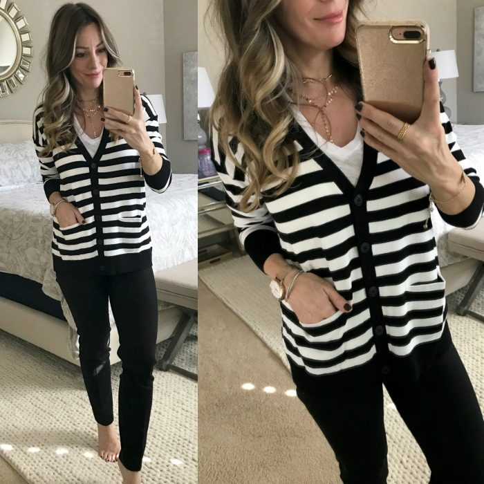 Black slim crop pants and striped cardigan