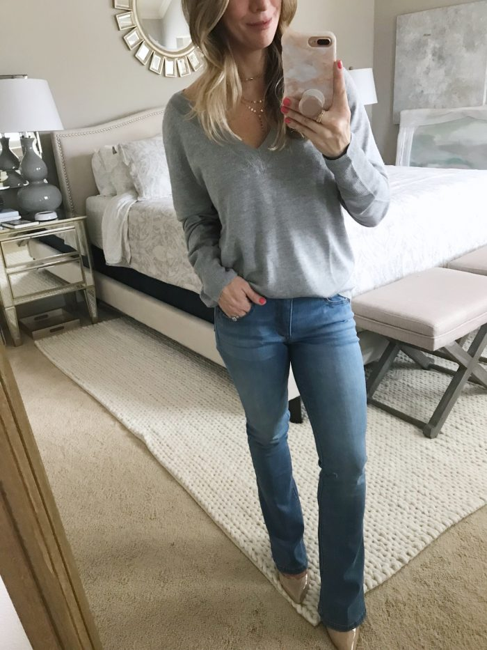 Bootcut jeans and grey pullover