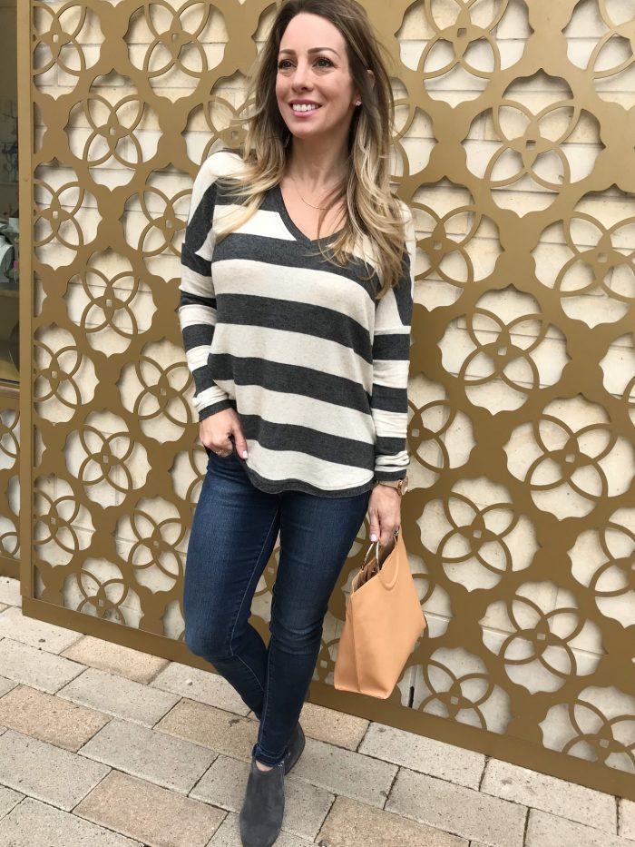 Daily Outfit Inspiration - striped pullover skinny jeans and grey booties