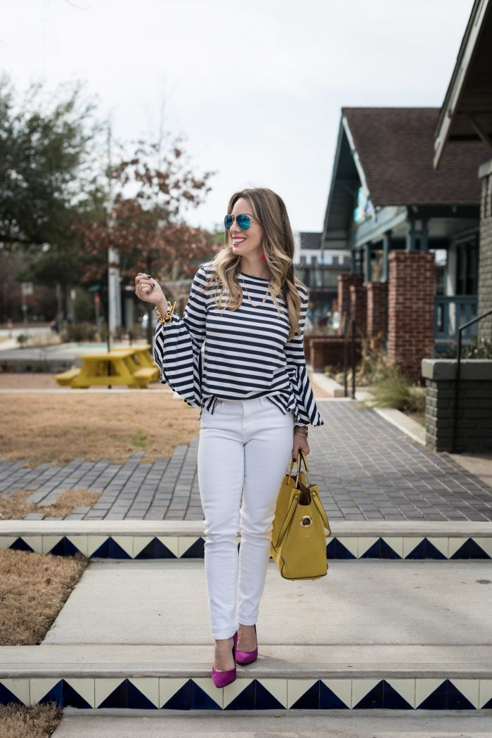 Daily Outfit Inspiration - white jeans and striped top