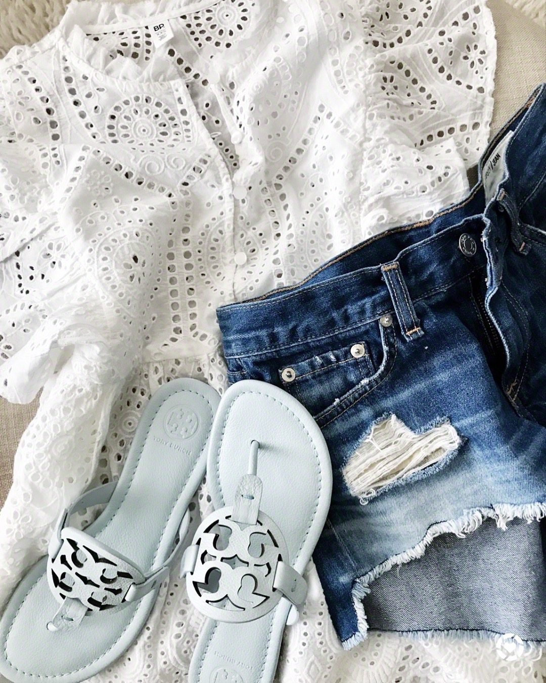Eyelet top, jean shorts Tory Burch Miller Sandals