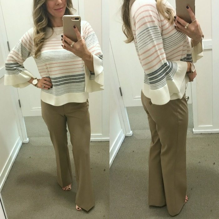 LOFT petite pants and striped top