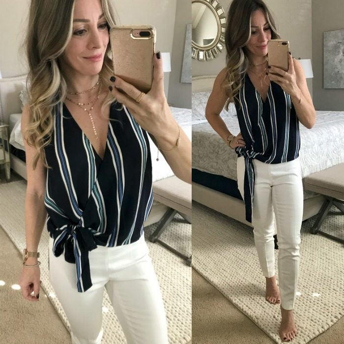 Lush striped top with white slim pants