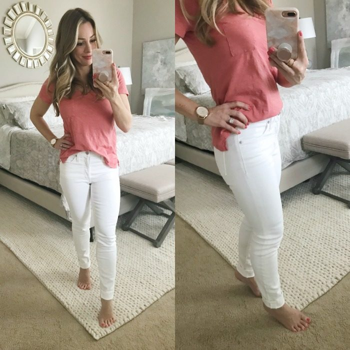 Madewell 9 in white jeans