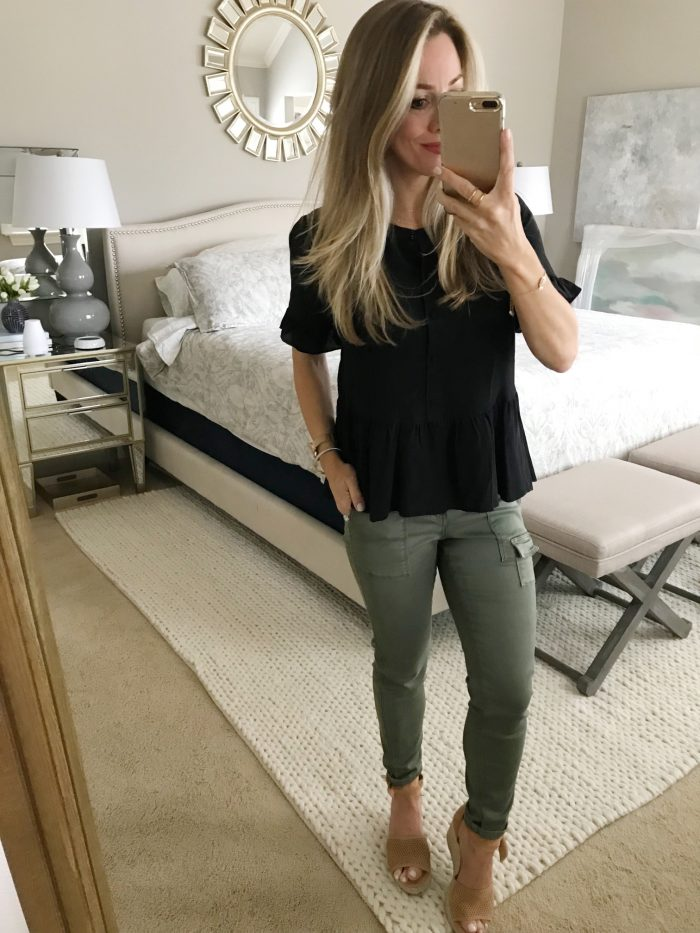 Outfit inspiration - black peplum top and cargo skinny pants