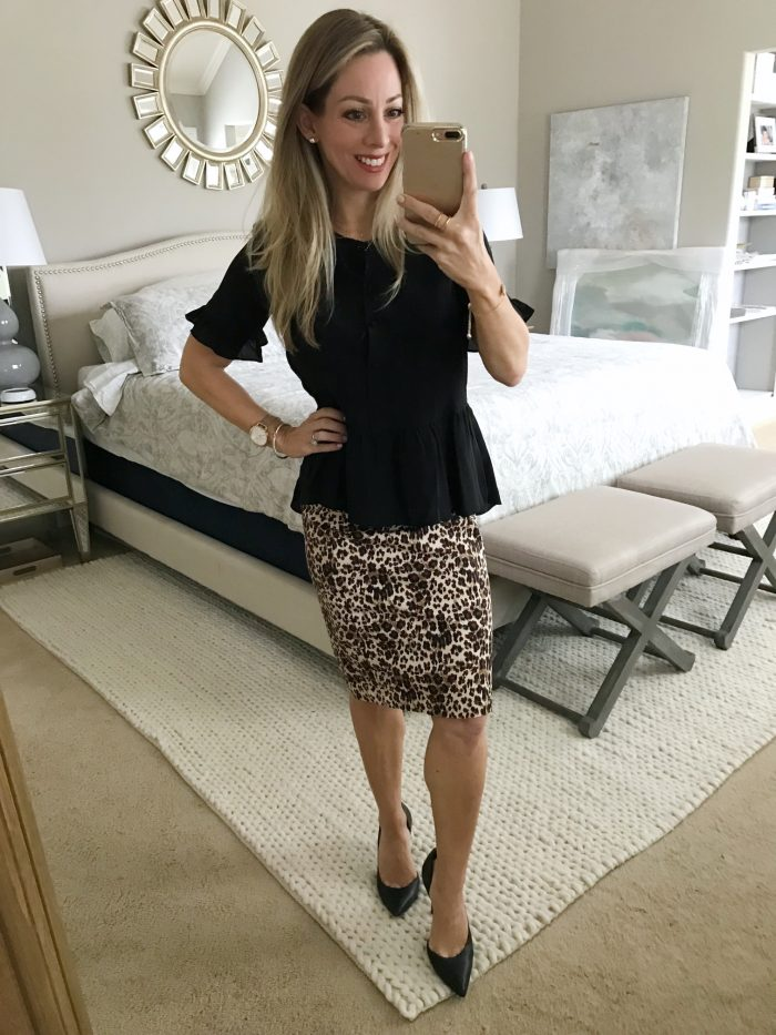 Outfit inspiration - black peplum top and leopard pencil skirt
