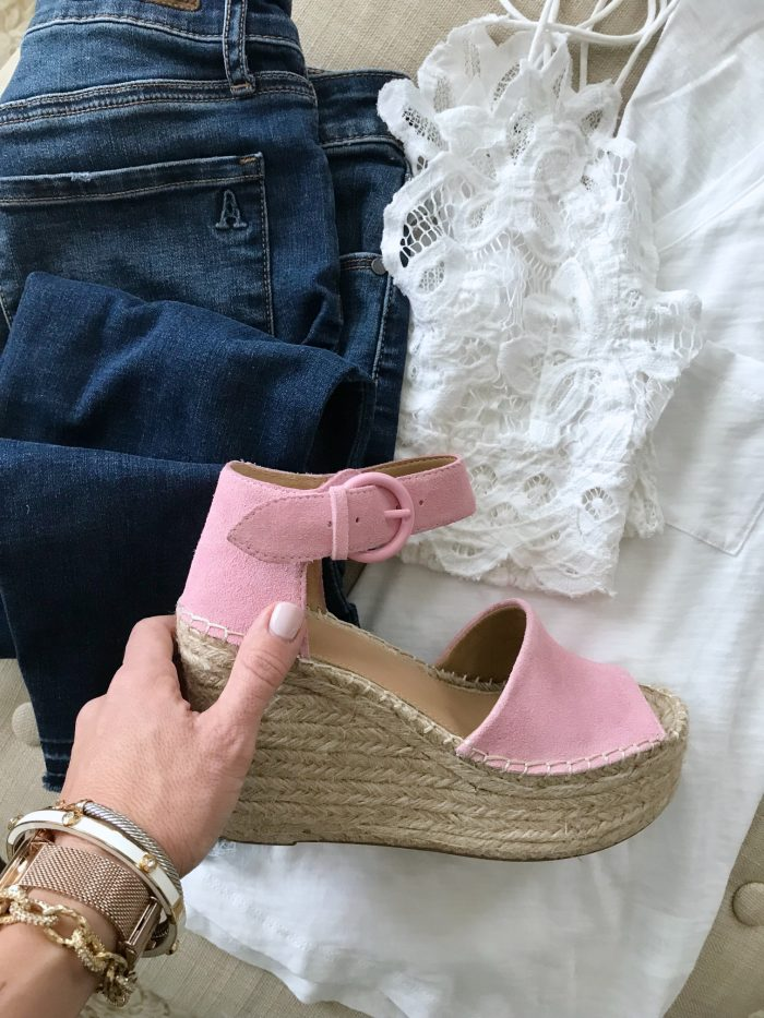 Outfit inspiration - jeans, espadrilles, white tank and bralette