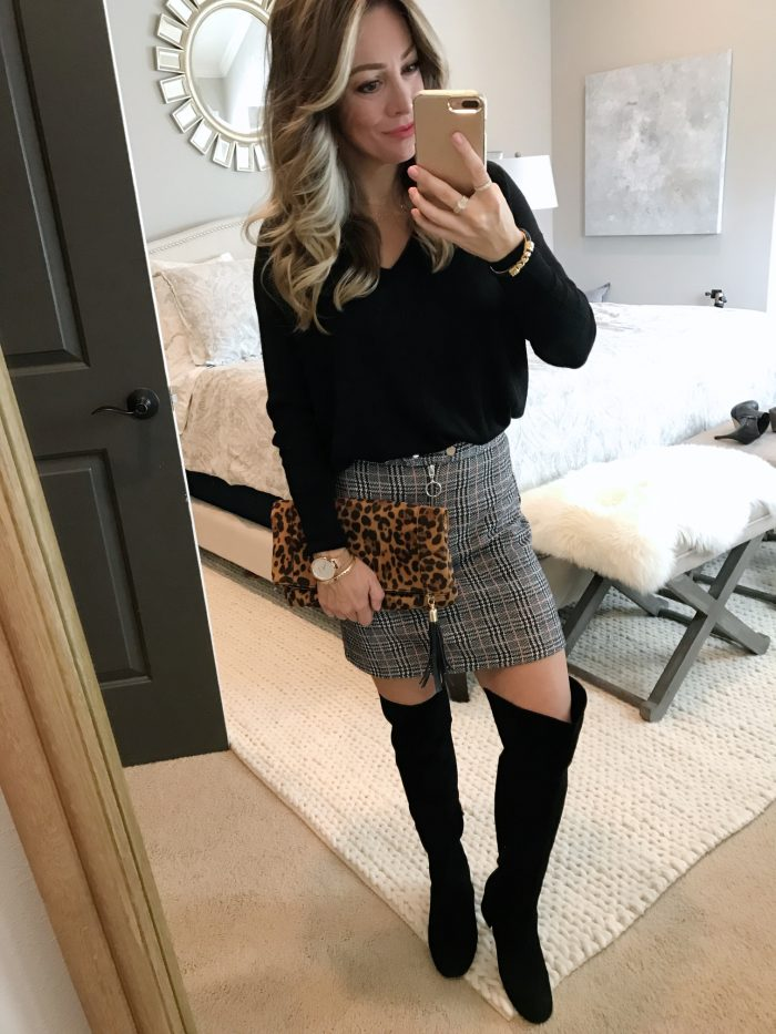 Outfit inspiration - tunic with plaid skirt, tall boots and leopard clutch