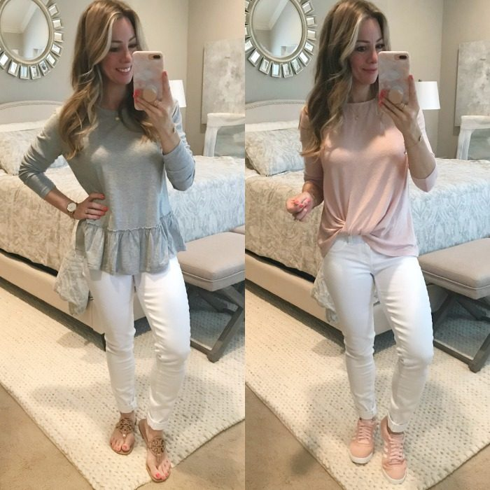Paige white jeans casual tops
