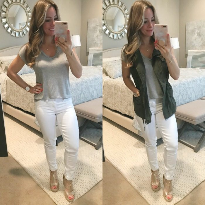 Paige white jeans grey tee