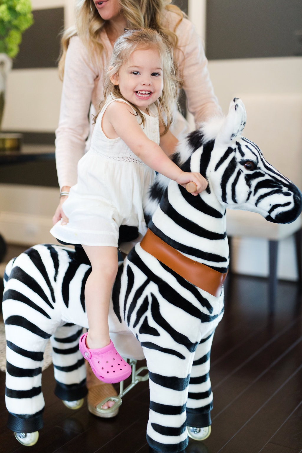 Plush ride on zebra