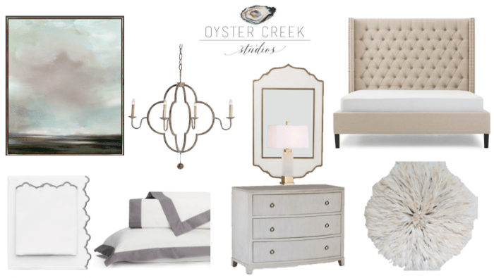 Neutral Master Bedroom design board Oyster Creek Studio & Honey We're Home