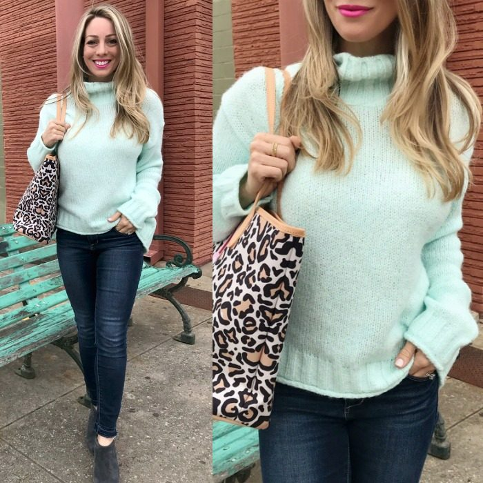 Skinny Jeans w Mint Sweater and leopard bag