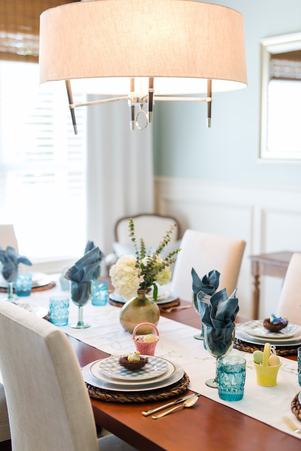 Spring Home Tour on Water Hyacinth Dining Chairs