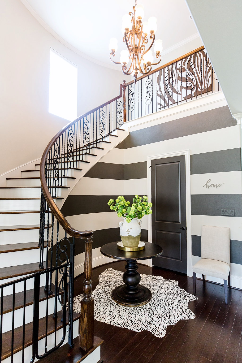 Spring Home Tour foyer with curved staircase