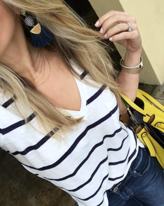 Striped v-neck tee and layered necklace