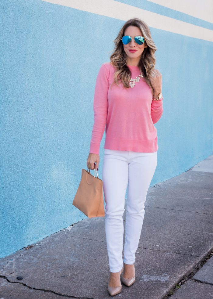 Transitional Spring Outfit- bow back sweater with white jeans, heels and tan bag 1