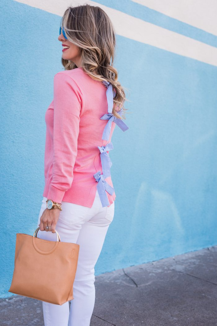 spring outfit with tan bag
