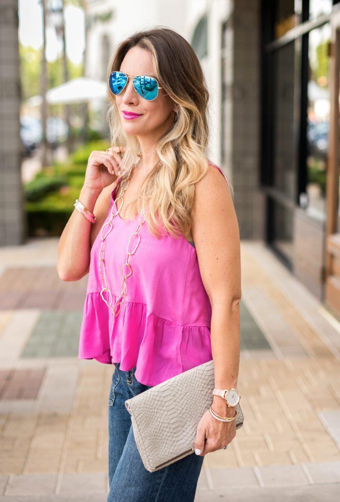 bronde hair pink tank