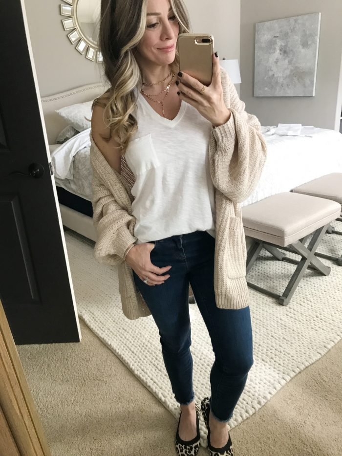 cardigan and tank with jeans