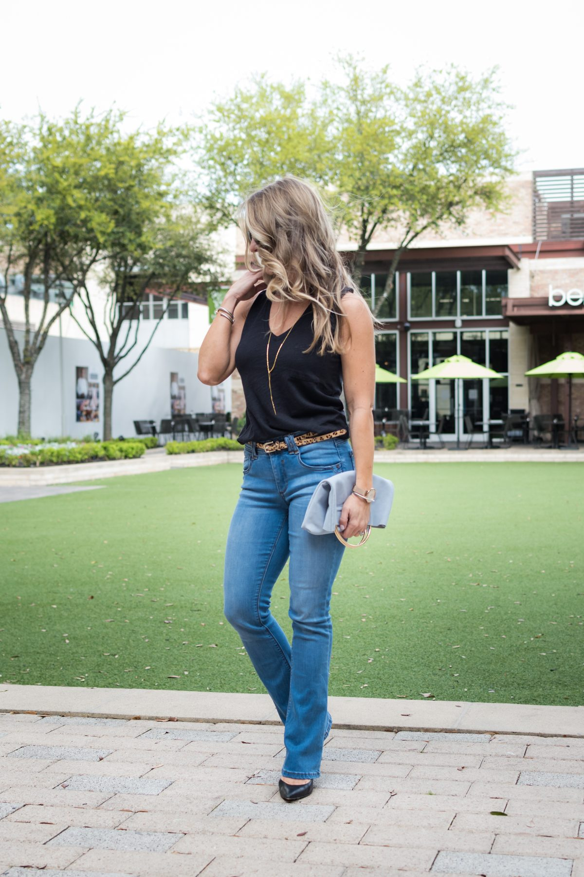 Bootcut Jeans with black tank-1-2
