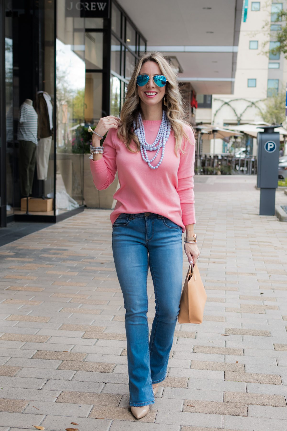 Bootcut Jeans with bow tie back sweater-6