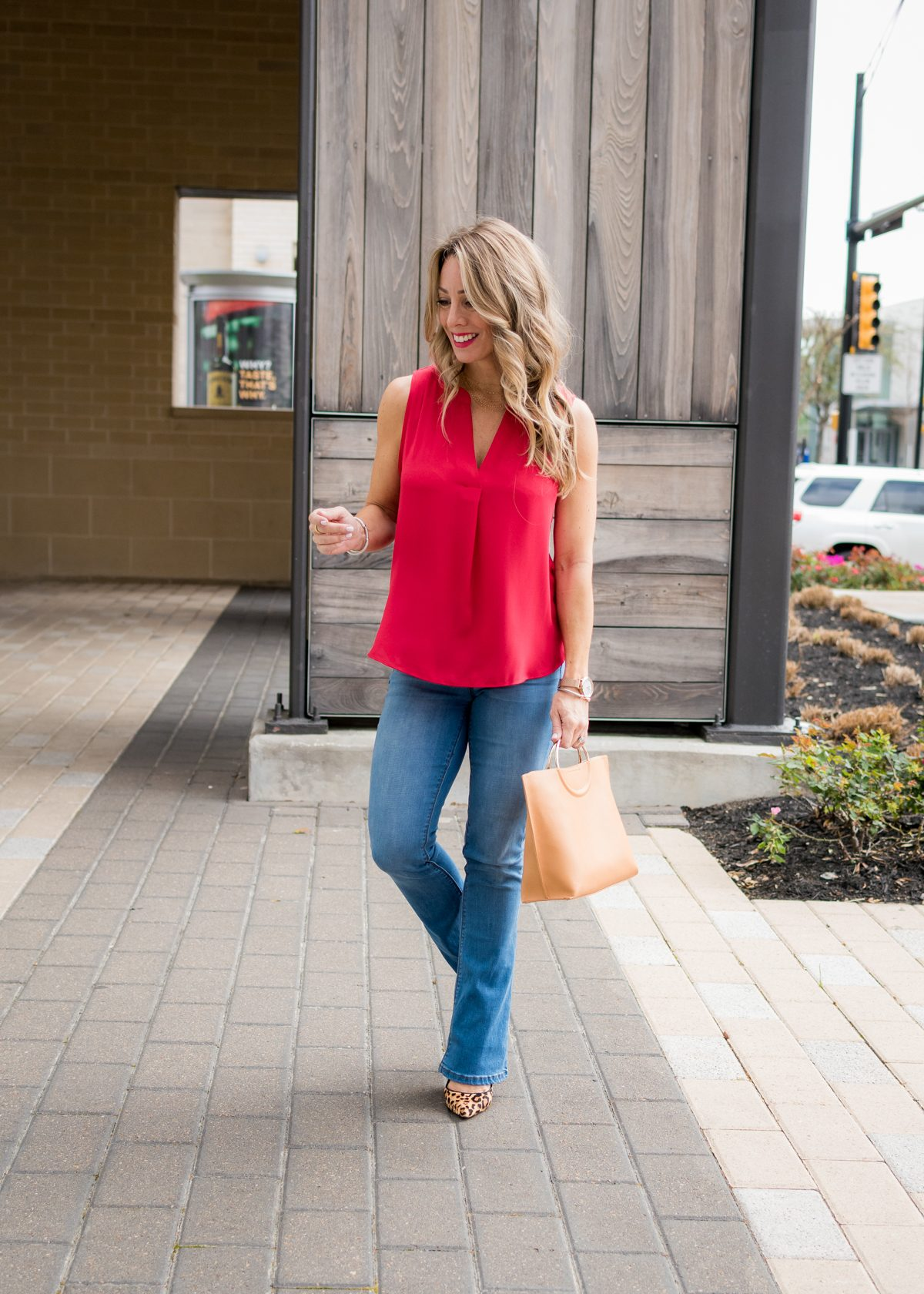 Bootcut Jeans with red swing tank -2