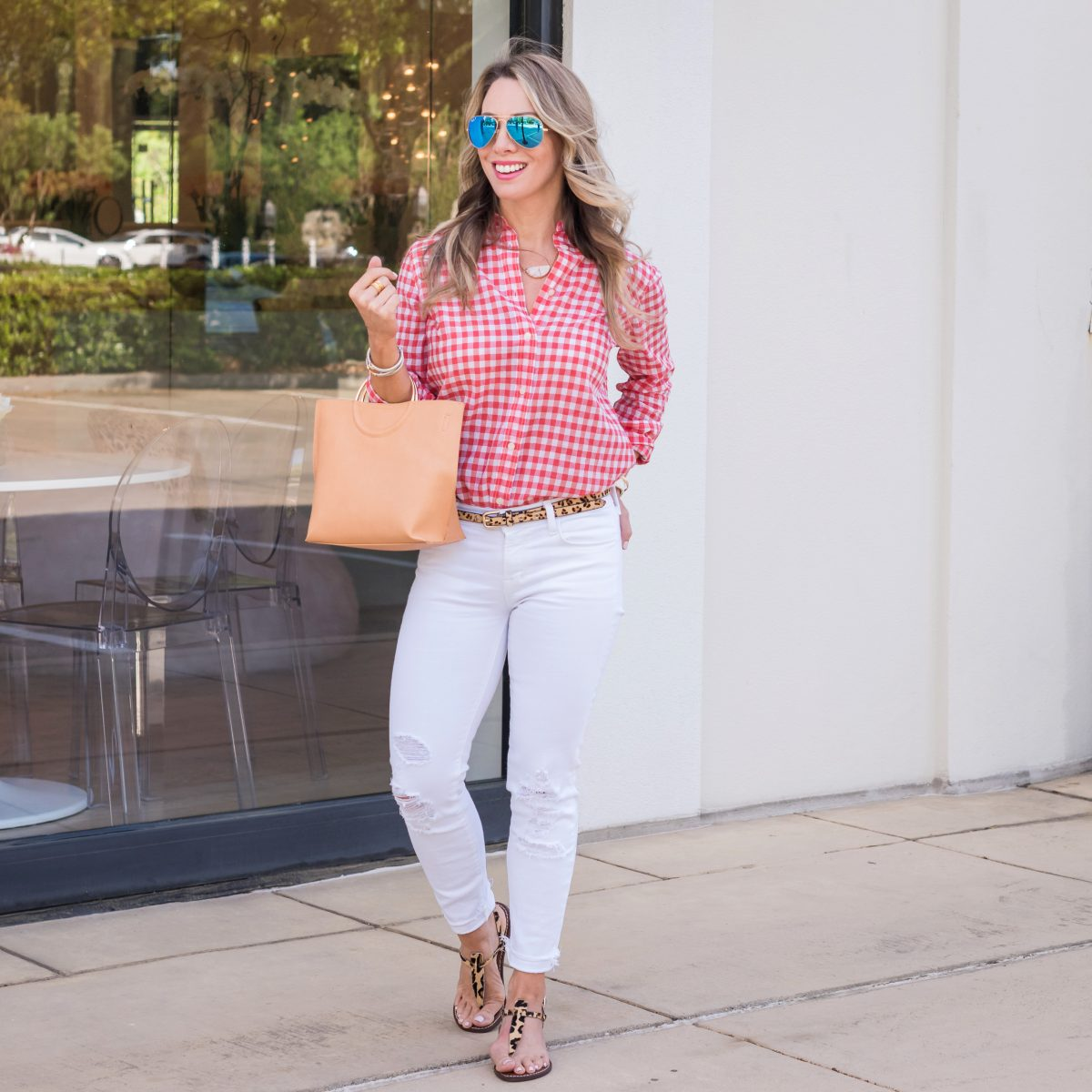 Casual Weekend Outfit - white jeans pink gingham top 2