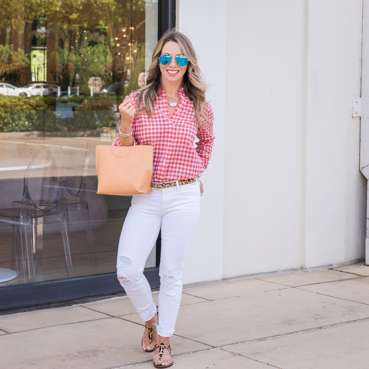 Casual Weekend Outfit - white jeans pink gingham top 3
