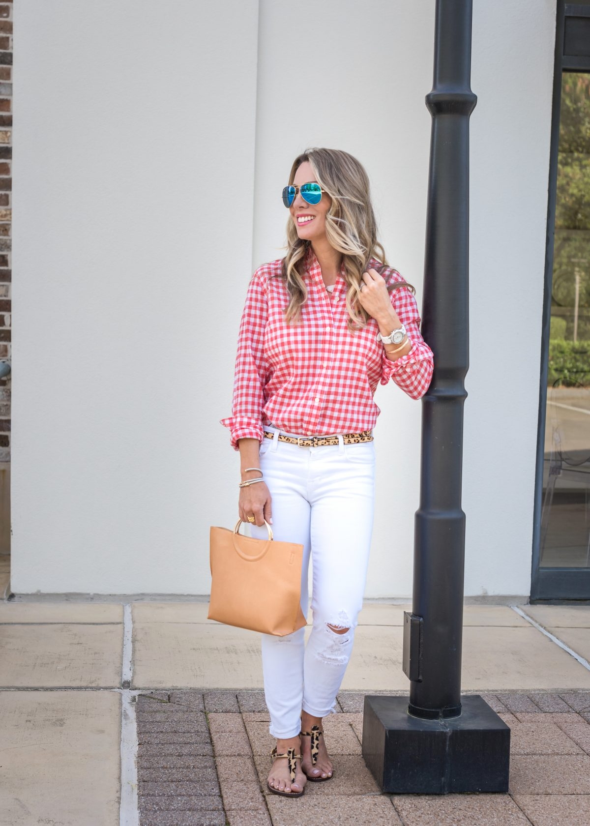 Casual Weekend Outfit - white jeans pink gingham top 6