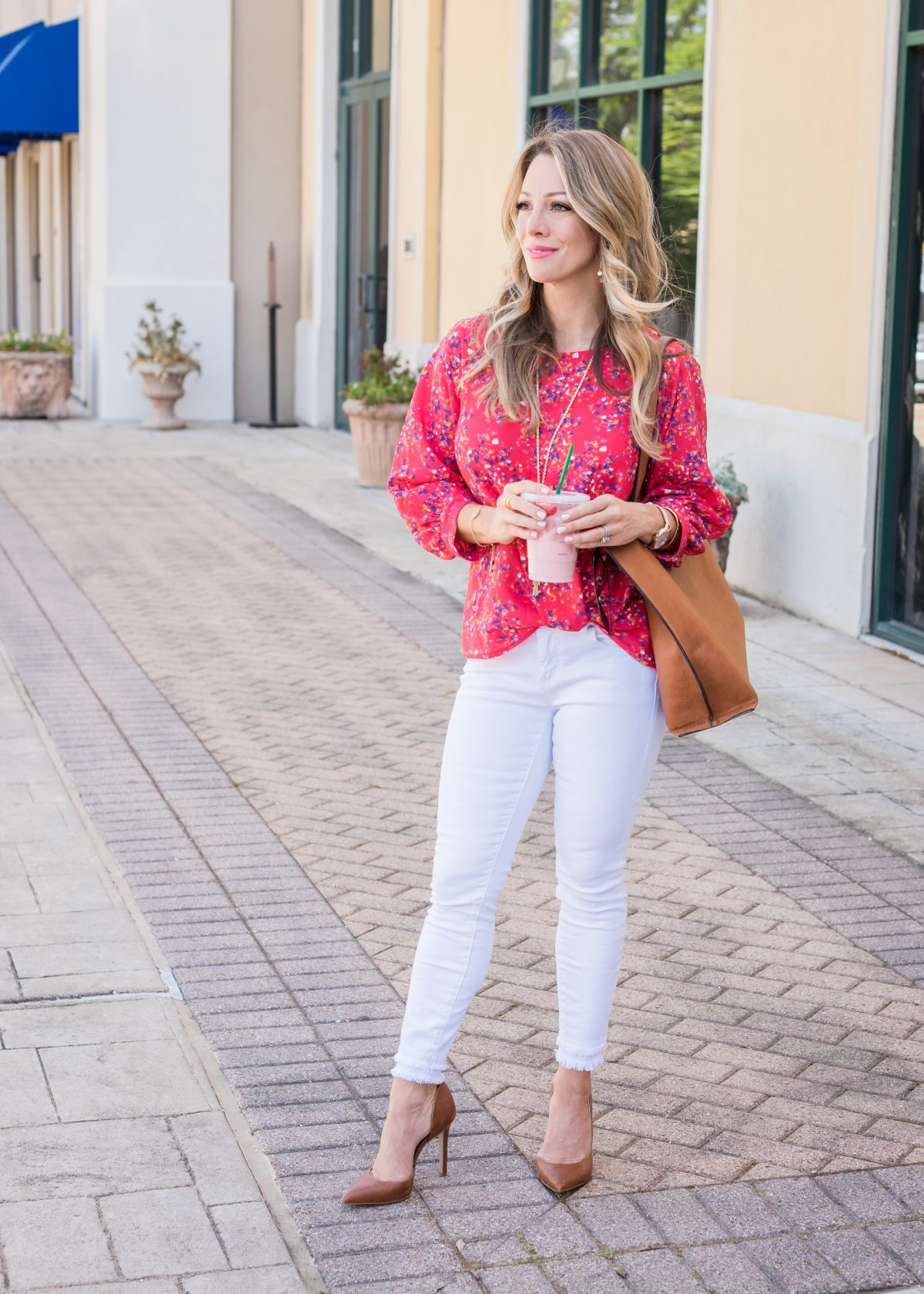 Casual Work Outfit - confetti blouse (1)