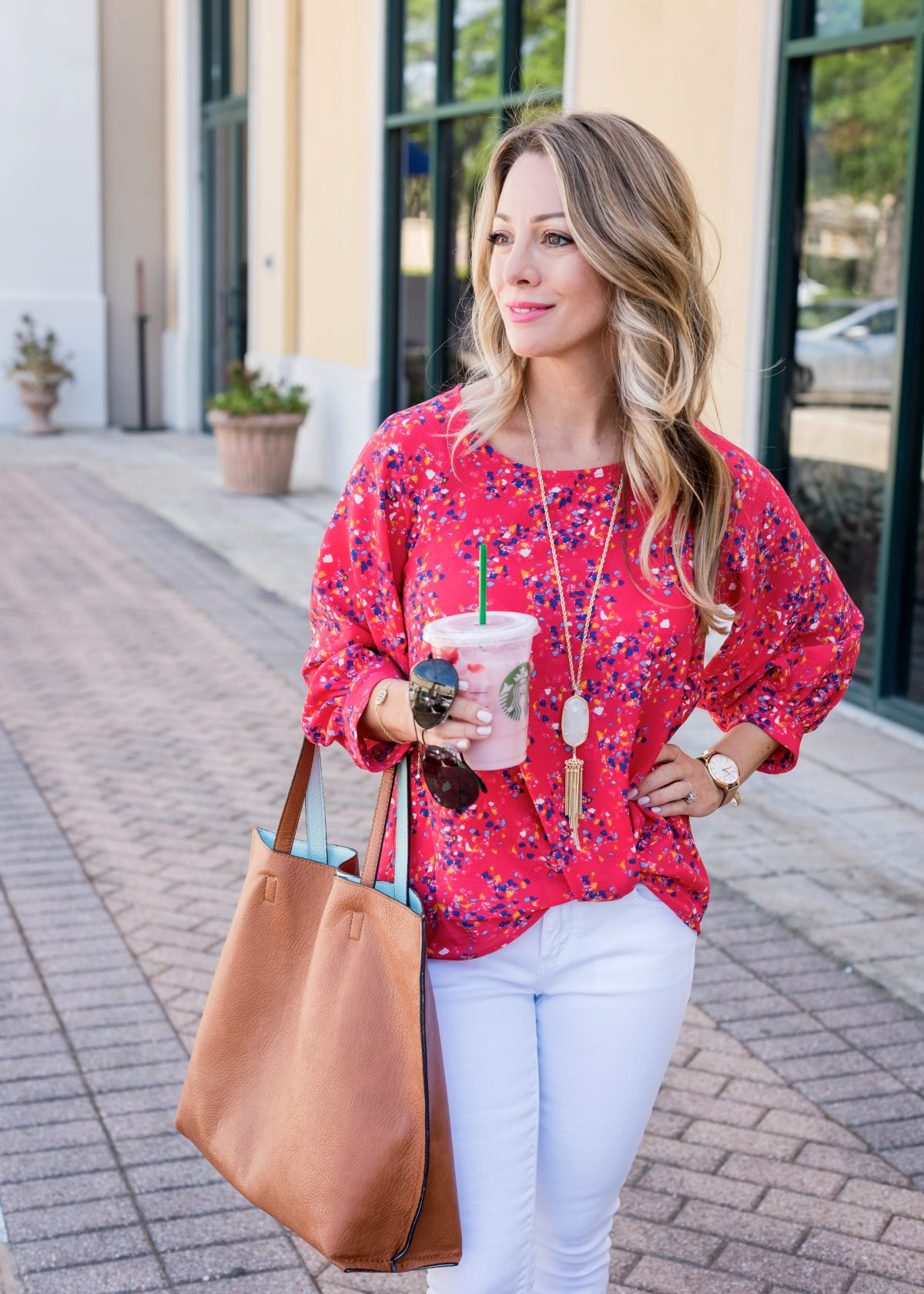 Casual Work Outfit - confetti blouse