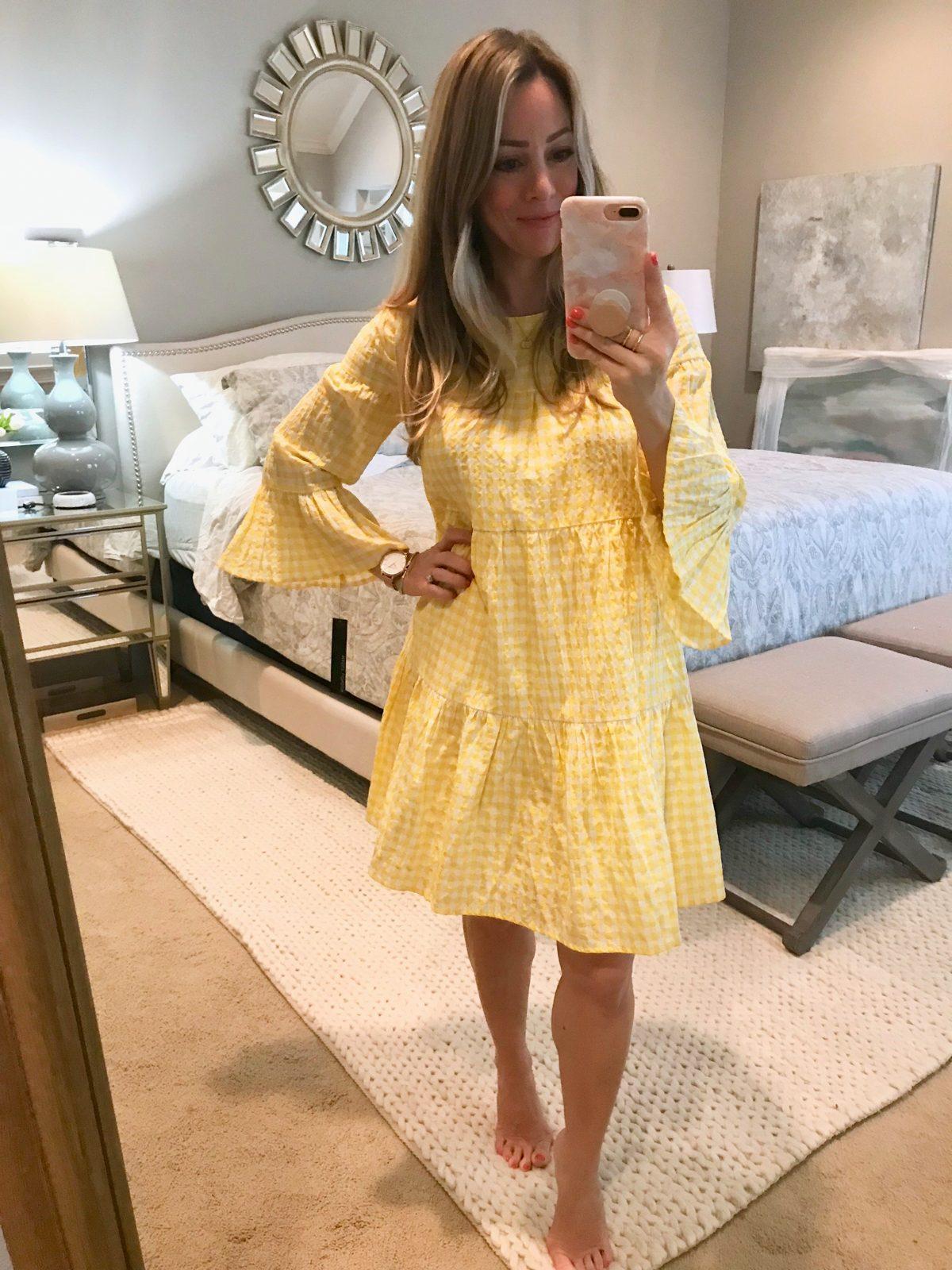 Dressing Room try-yellow gingham dress-1