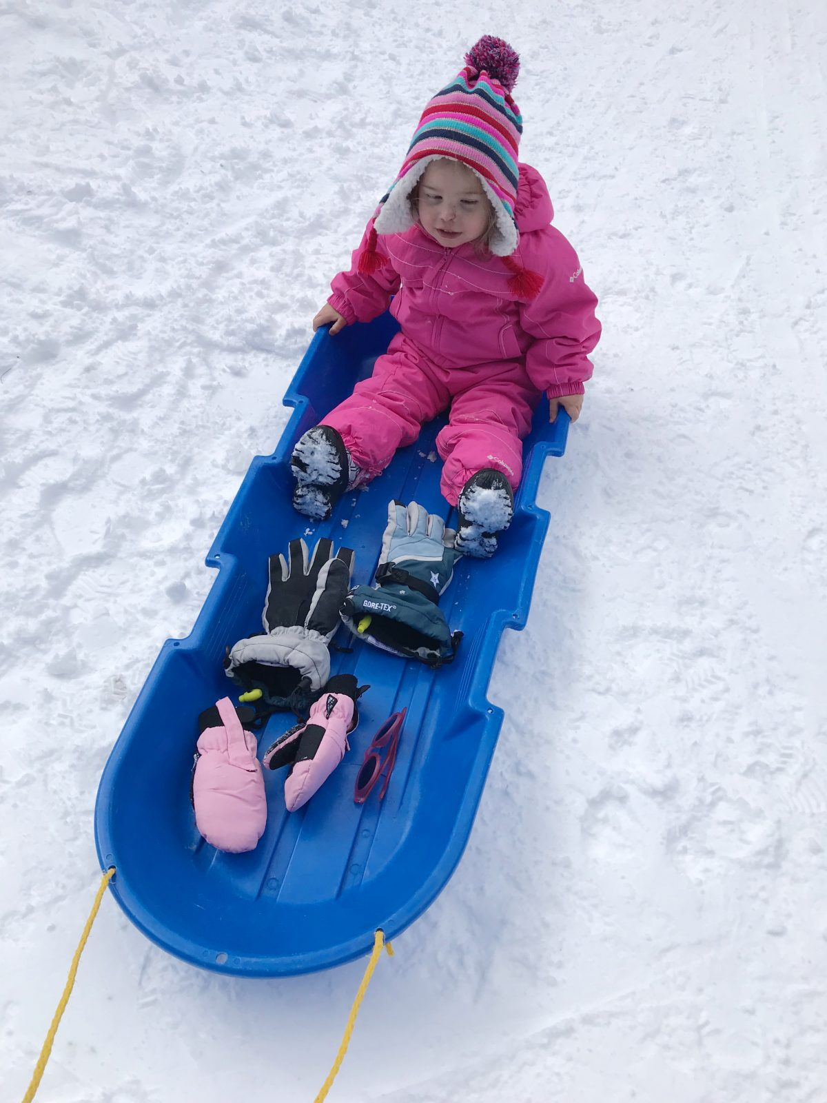 Family ski trip with toddler - sledding