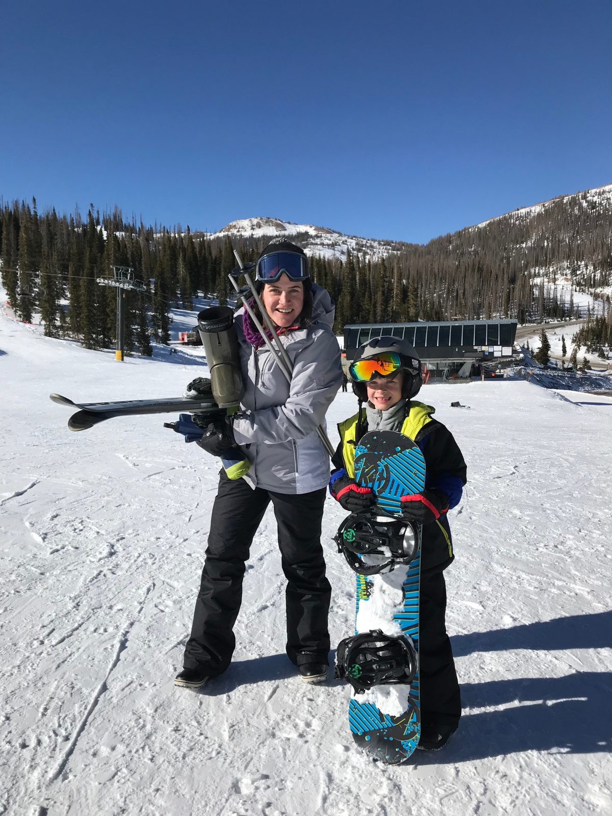 Family ski trip with toddler - snowboarding