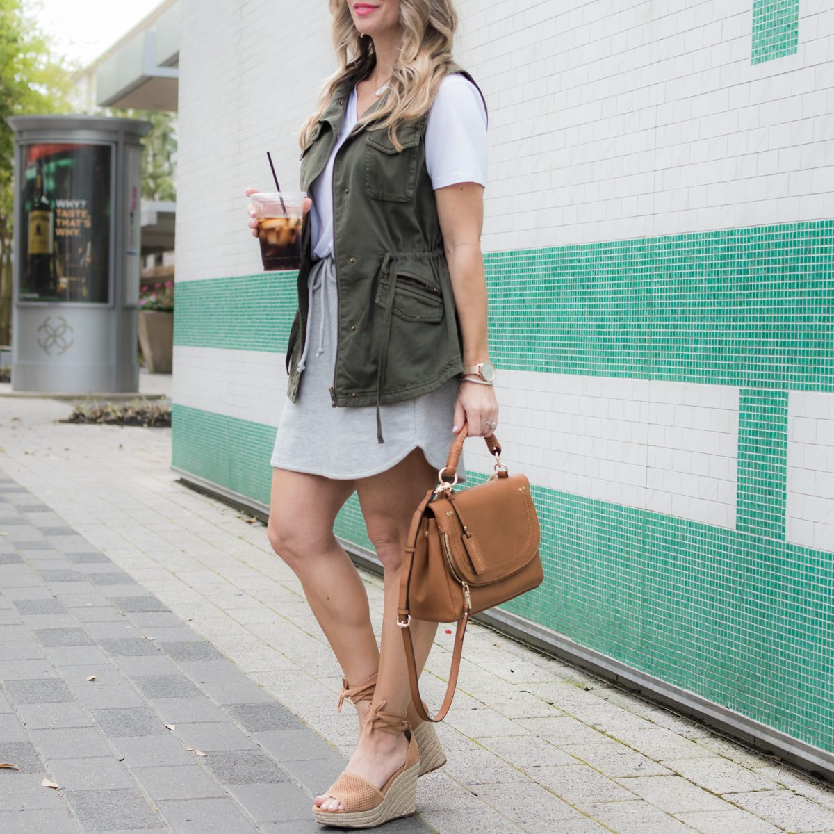 Gibson x LIY skirt and tee w military vest-1-11