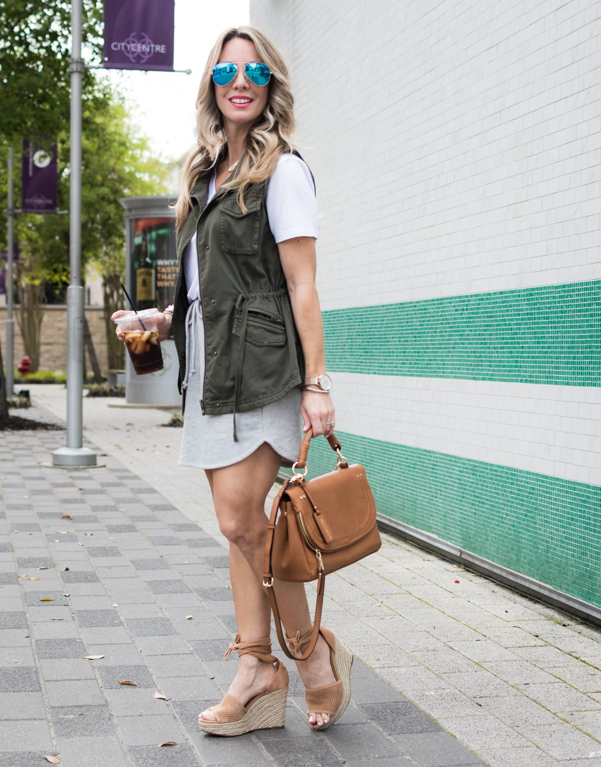 Gibson x LIY skirt and tee w military vest-1-2