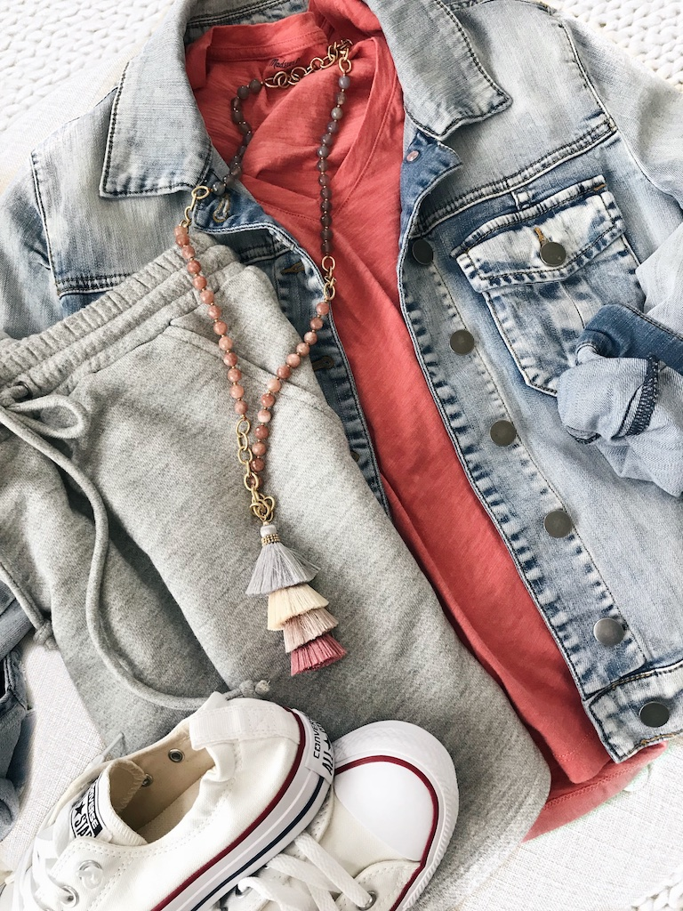 Jean jacket, tee, skirt, converse, pendant necklace