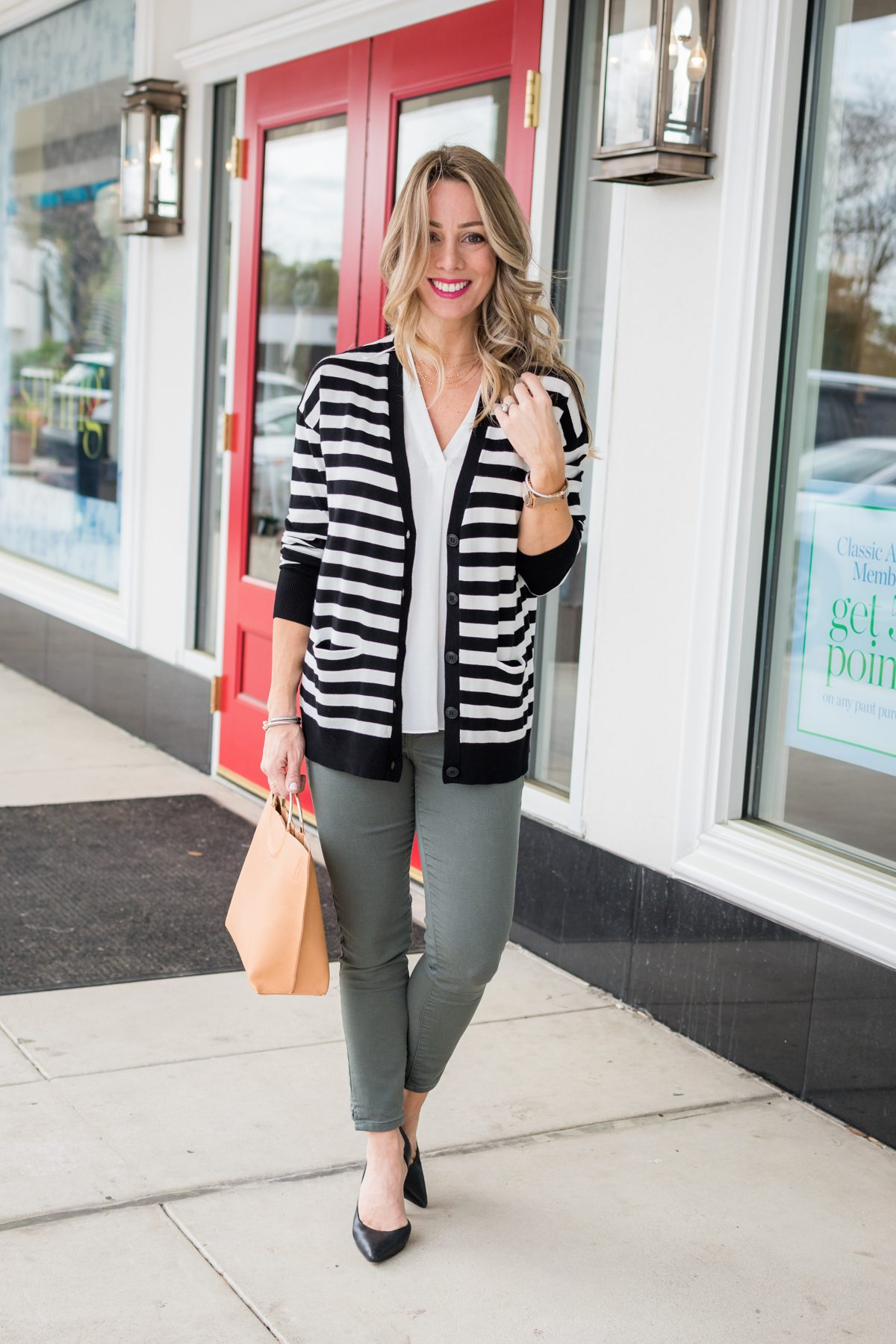Skimmer Jeans and striped cardigan-1
