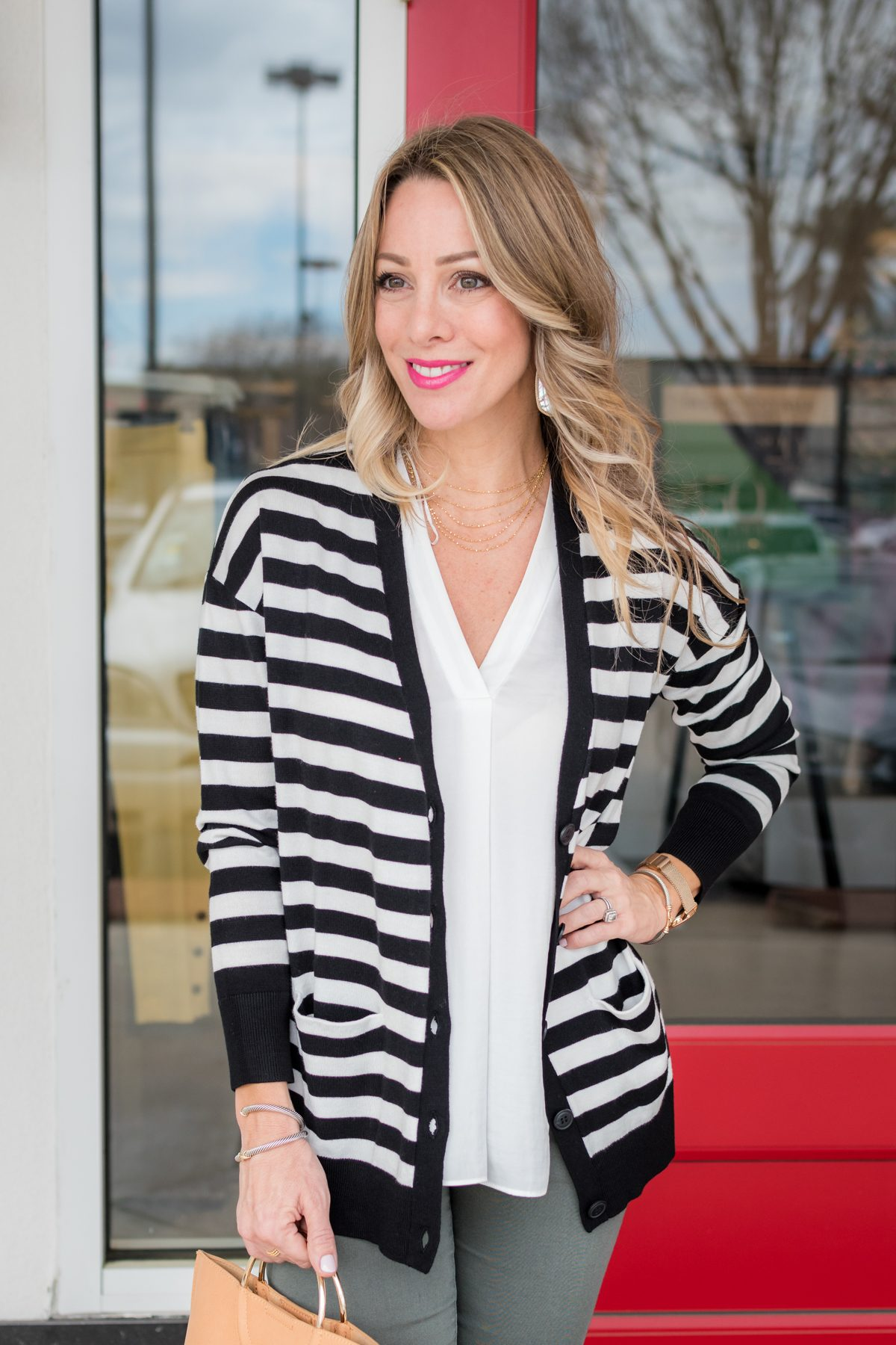 Skimmer Jeans and striped cardigan-1-3