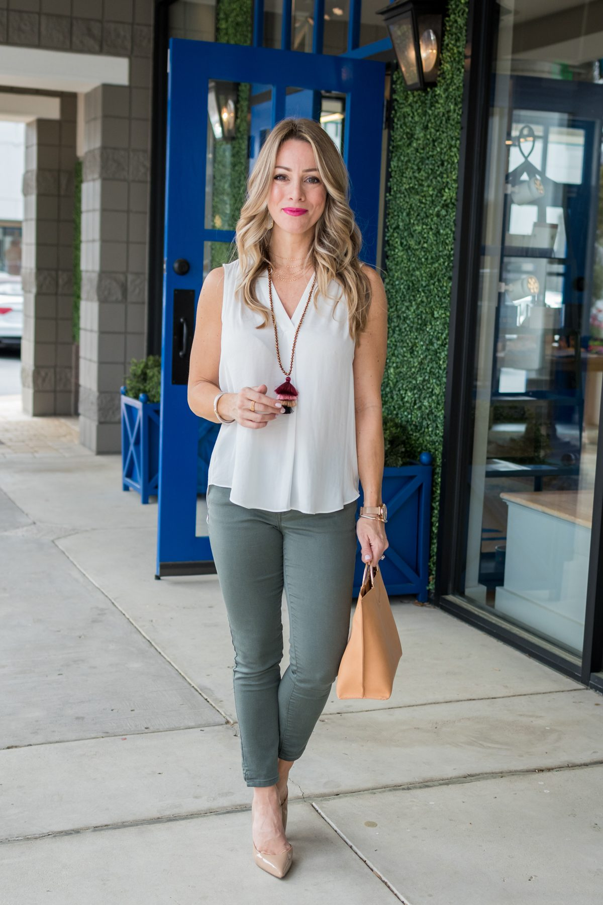 Skimmer Jeans and white tank blouse-1-6