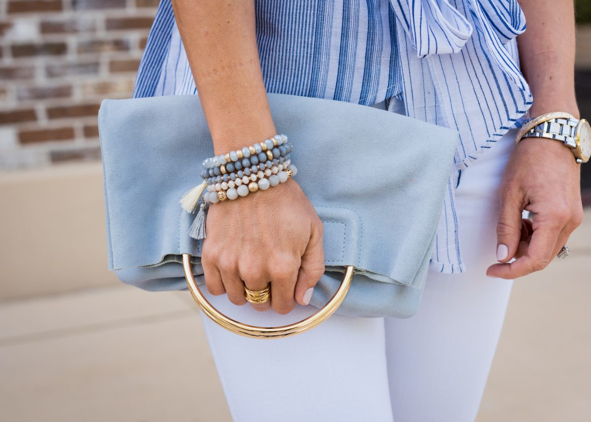 Spring Outfit - blue wrap ruffle sleeve top and white jeans 9
