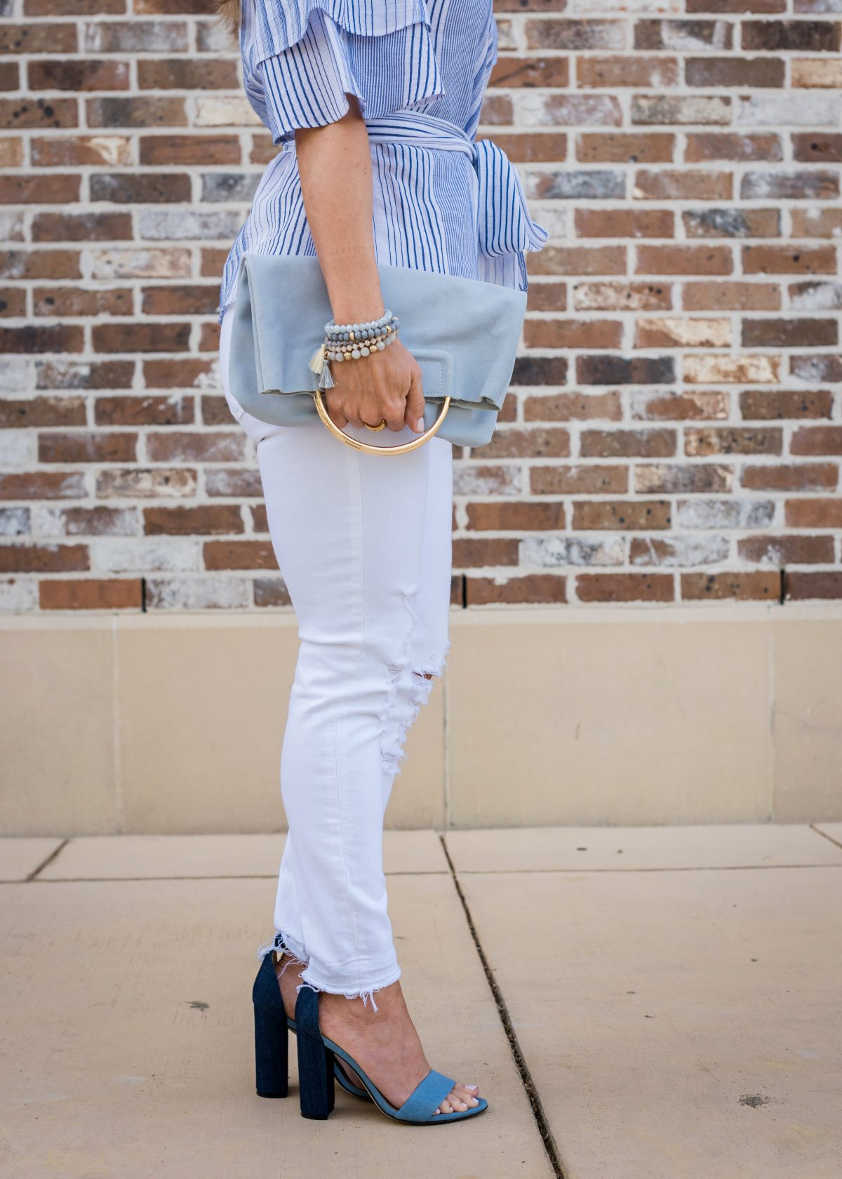 Spring Outfit - blue wrap ruffle sleeve top and white jeans 4